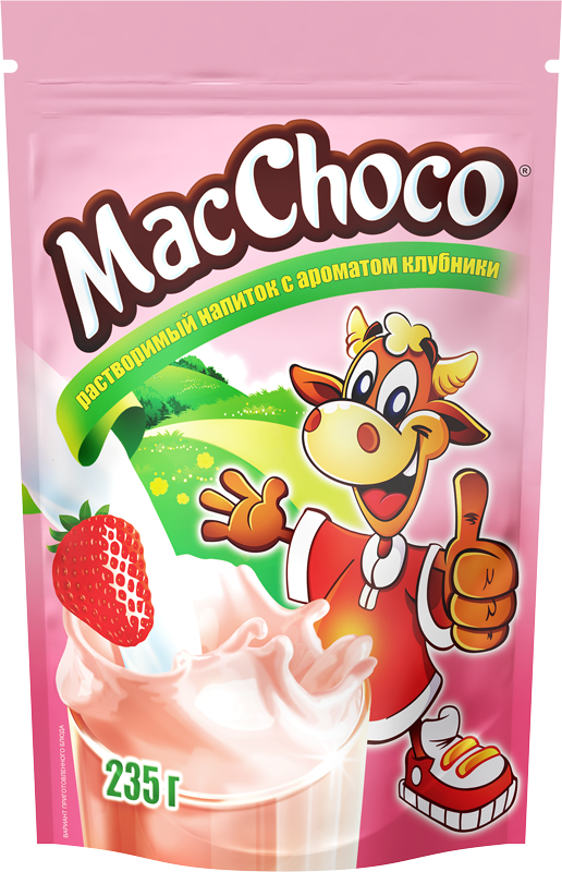 MacChoco instant drink with strawberry flavor